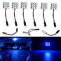 YongMing 9連 5050 LED ルームランプ ドームライト 3種類のアダプター付き DC12V専用 ブルー 6個