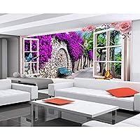 Ljjlm カスタム3D写真の壁紙不織壁画のリビングルームの窓の蝶の花3Dの写真テレビのソファの背景の壁紙家の装飾-260X180CM