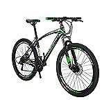 TSMBIKE X1-27.5 マウンテンバイク27.5インチ 変速21段 前3段×後7段 前後ディスクブレーキ 通勤自転車 通学マウンテン 自転車 黒と緑
