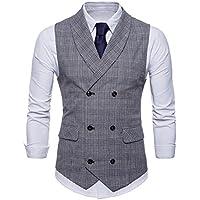 FULIER Men Slim Fit V Neck Double Breasted Business Casual Waistcoat Suit Vest