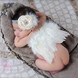 Meily まるで天使 ベビー用着ぐるみ コスプレ 衣装 赤ちゃん 新生児 出産祝い 百日記念 写真 撮影 寝相アート 着ぐるみ コスプレ ベビー [ ヘアバンド付]