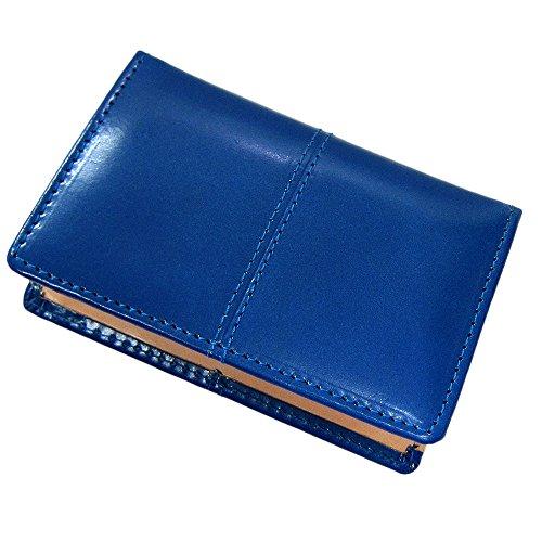 [マトゥーリ]Maturi 名刺入れ カードケース ブライドルレザー×ボンテッドレザー センタースティッチ MR-128 青