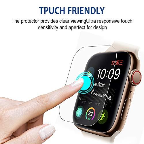 『VICARA Compatible apple watch series 4 保護フィルム 非ガラス 水貼り 貼り直し可 超薄 TPU保護フィルム 気泡ゼロ Compatible apple watch series 4 スクリーン保護フィルム(6枚入り 44mm)』の4枚目の画像