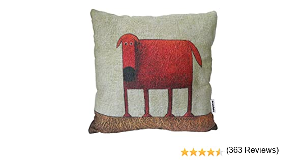 Decorbox Cotton Linen Square Decorative Throw Pillow Case Cushion Cover Green Background Red Dog 18 X18