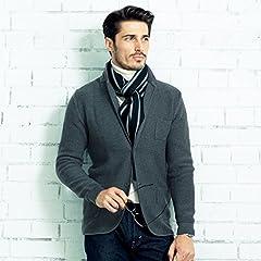 Breuer Wool Scarf: Navy / Grey Stripe