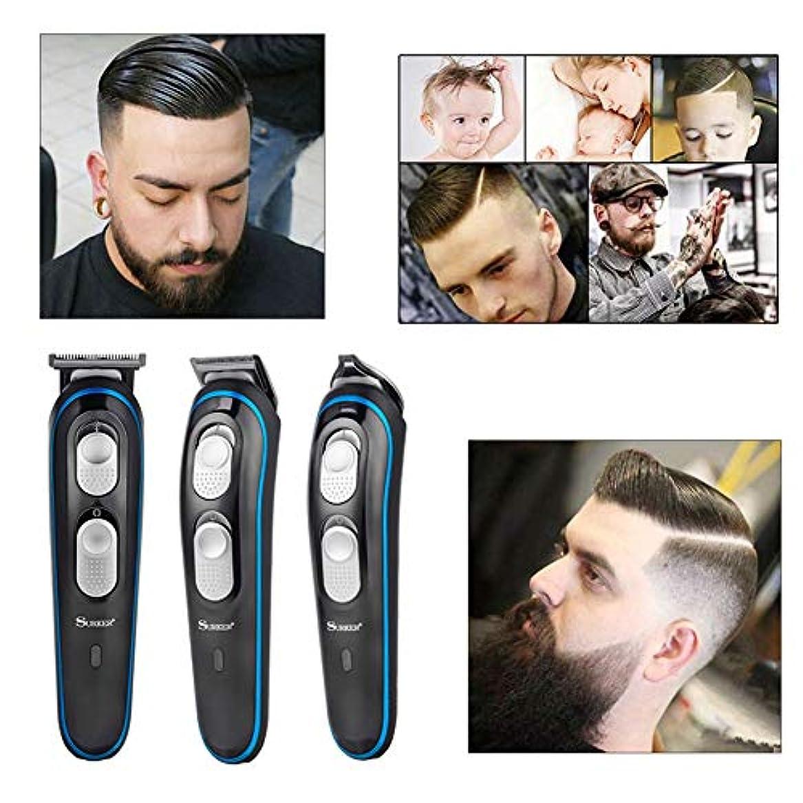 貫通する咳許容できる充電式トリマー男性3イン1バリカン炭素鋼ブレードヘアカッター機ヘアカット電気散髪
