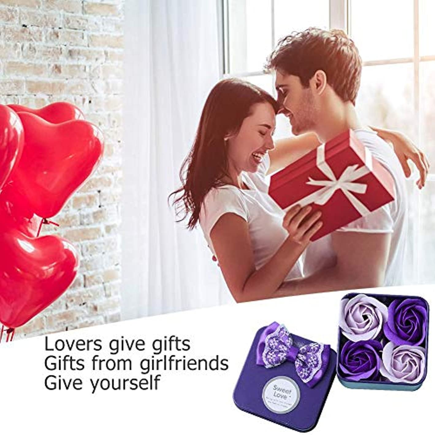 機動代わりに病者ローズフラワー石鹸 香料入り 風呂 花びら石鹸 香り石鹸 バレンタインデーギフト 4個/ボックス 手作り 母の日 誕生日プレゼント 贈り物 お祝い Amiu