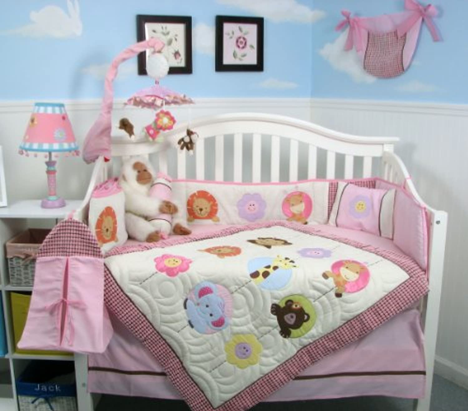SoHo Lollipop Baby Crib Nursery Bedding Set 13 pcs included Diaper Bag with Changing Pad & Bottle Case by SoHo Designs