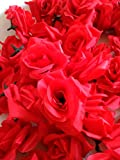 SeleCreate バラ ローズ 造花 フェイク フラワー 花 部分 のみ 50個 セット 赤色