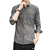 メンズ 長袖 ストライプ柄 シャツ カジュアルシャツ 折り襟 多色 クールビジ グレー・ホワイト ストライプ L