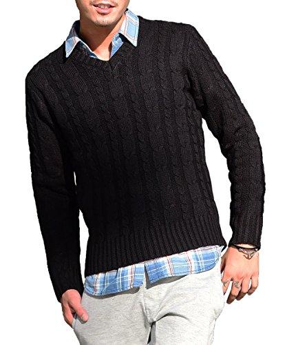 ジョーカーセレクト(JOKER Select) ニット セーター メンズ タートルネック ケーブルニット Vネック クルーネック 無地 長袖 M(Vネック) ブラック