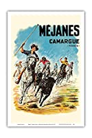 M?janes - カマルグ、フランス - ブル・ランニング - ビンテージな世界旅行のポスター によって作成された アンリ・クーヴ c.1952 - アートポスター - 31cm x 46cm