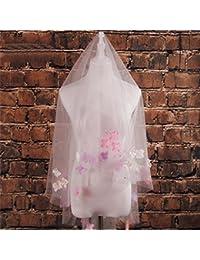 シュウクラブ- 韓国の審美的な色の花の象眼細工ソフトネット短糸糸ウェディングベールベールベール