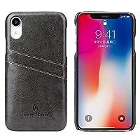 ケース カードスロットのファッションとのiPhone XRのためのFierre ShannレトロオイルワックステクスチャPUレザーケース (色 : ブラック)