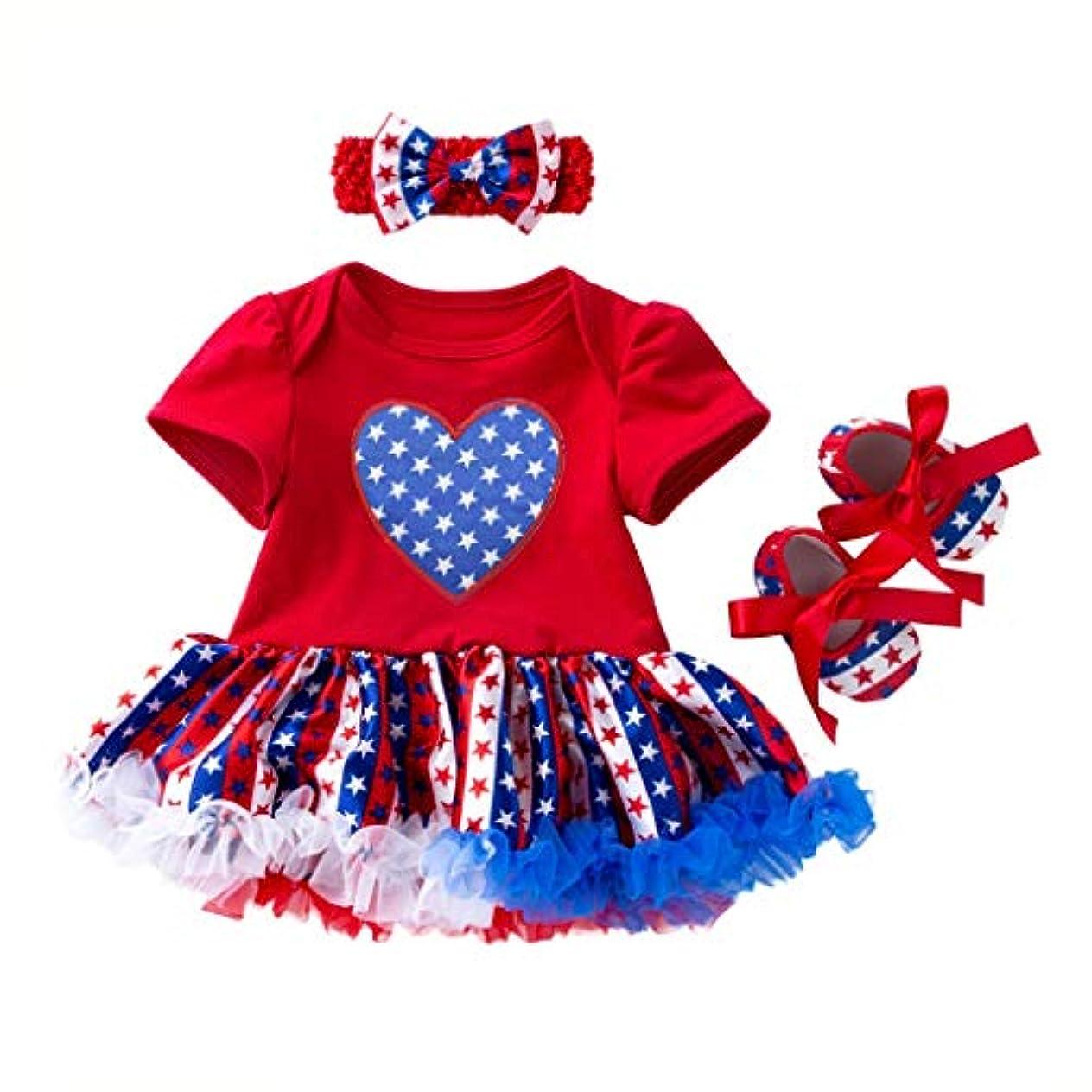 汚染された神経邪悪な[ポクトロン] ベビー 独立記念日 赤ちゃん 半袖 スタープリント ドレス プリンセススカート+ヘアバンド+靴 スリーピーススーツ スーツ 3点セット