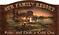 """Our Family Resort 18"""" x 30"""" Wood Sign by Terry Redlin"""