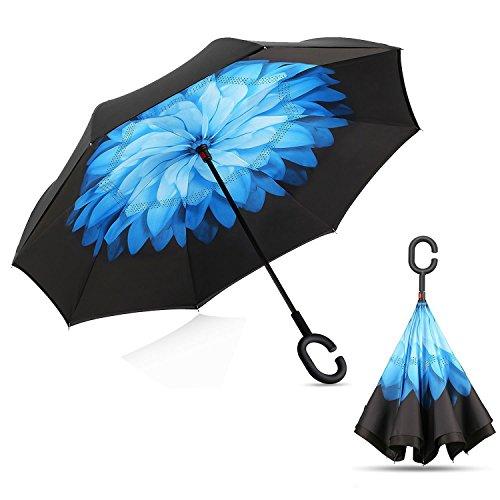 Tooge 長傘 レディース 逆折り式傘 車用傘 外袋付き 閉じると自立可能 耐風 撥水 遮光遮熱 コーティング C型手元 UVカット 8本骨 晴雨兼用 男女兼用 (青い蓮)