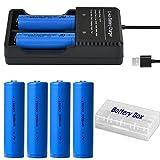 4本 18650 充電池 3.7V 3000mAh USBバッテリー充電器 戦術懐中電灯/ヘッドランプ用電池 透明ケース ABUNRO AB-18650P4