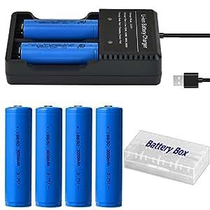 4本 18650 充電池 3.7V 3000mAh USBバッテリー充電器付き 戦術懐中電灯/ヘッドランプ用電池 透明ケース付き 釣り用バッテリー