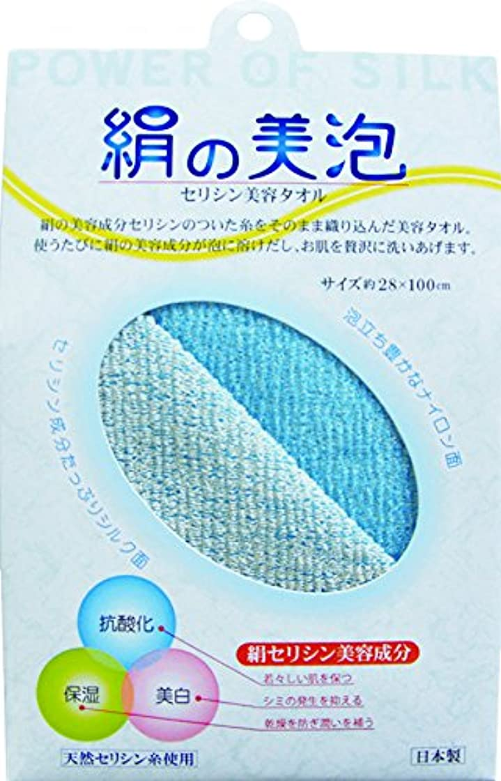 絹の美泡 セシリン美容タオル ブルー