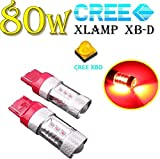 WLSAUTO 80W T20/ S25 led シングル/ダブル ホワイト・赤・アンバー CREE 2個 12V/24V 1年保証 ウインカー ブレーキ ストップ テールランプ用 無極性タイプ (80W T20 led 赤LEDバルブダブル球 )