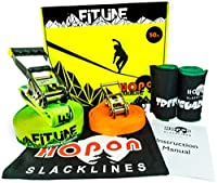 Complete Slacklineキット子供&大人–50ft Fitline by HopOn Slacklines–Includesトレーニング線、2x Treeguardsツリー保護+キャリーバッグ–Fitness、バランス、練習、楽しい–EAS