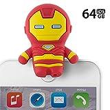 Marvel マーベル キャラクター iPhone USB メモリー フラッシュドライブ Apple MFi 認証 64GB USB3.0 データ保存 小型 キャップ落ちない シリコンカバー グッズ フィギュア プレゼント/アイアンマン