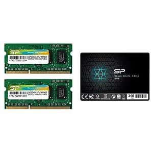シリコンパワー ノートPC用メモリ 1.35V (低電圧) - 1.5V 両対応DDR3L 1600 PC3L-12800 4GB×2枚 Mac 対応 +SSD 240GB セット
