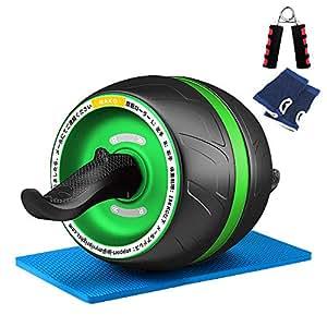 NAKO 腹筋ローラー エクササイズローラー 筋トレ アブホイール 膝マット付き スリムトレーナー トレーニング アシスト機能 (緑)