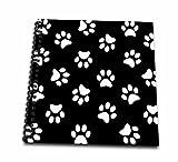 InspirationzStoreペットデザイン–ブラックandホワイト足プリントパターン–Pawprints–EG可愛いアニメ動物犬または猫Footprints–Drawing Bo