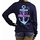 Southern Attitude Salty Anchor Navy Blue Preppy Long Sleeve Shirt
