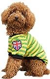 (Banly Shop)ペット服 ボーダー ペット わんちゃん ウェア パーカー 小型犬 中大型犬 コットン 犬服 可愛い お散歩 春 夏 5サイズ 4色 (S,green)