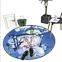 Surrealistic ホームインテリア サークル エリア ラグ ドリーミー ナイト スカイ 三日月星 銀河 宇宙 プリント ドアマット 屋内 バスルーム マット スモール ラウンド カーペット ライトブルー ライラック イエロー D4'/1.2m