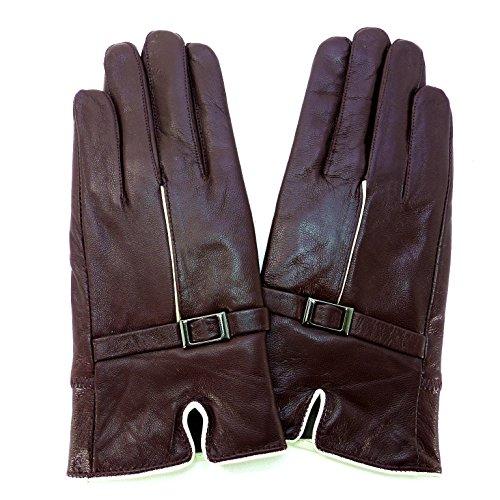 レディース手袋 羊革 裏起毛入り 白ライン ワインレッド色 NS-047 ラム革 皮手袋 レザー手袋 革手袋