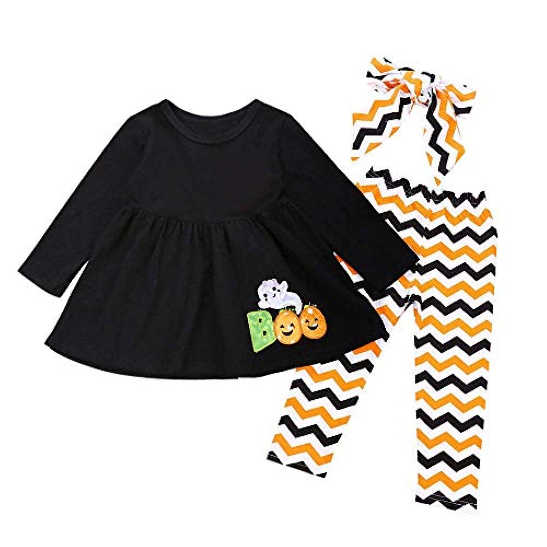 BHKK 子供 ガールズロングレターゴーストドレス+パンツ+ヘッドバンドハロウィーンの装飾衣装 18ヶ月 -5歳 18ヶ月
