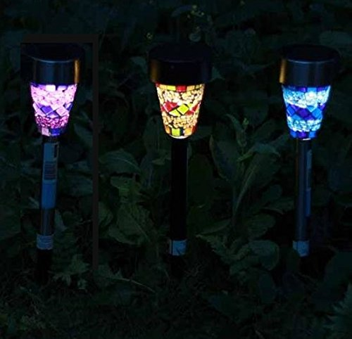 MedianField 【 ステンドグラス 風 led ガーデンライト 3個 セット 】 ソーラー ガーデンライト 充電 ledライト ソーラーライト 屋外 ガーデニング (3個)