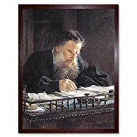 Ge Portrait Leo Tolstoy Writing Painting Art Print Framed Poster Wall Decor 12x16 inch ポートレートペインティングポスター壁デコ