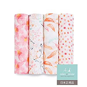 aden + anais (エイデンアンドアネイ) 【日本正規品】 モスリンコットン おくるみ 4枚セット(ペタルブルーム) 4pack swaddles (petal blooms) 2067