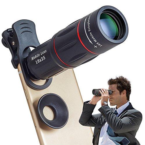 スマホレンズ クリップ式マホ用カメラレンズ 18X/18倍 HDスマホ望遠レンズ 三脚ホルダー付き単眼鏡 小型 軽量 カメラ ズーム 運動会 コンサート キャンプ 登山 ライブ 観劇等に最適 iPhone&Android多機種対応
