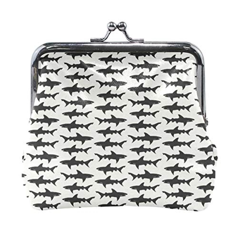 がま口 小銭入れ 財布 サメ ブラック コインケース レザー製 丸形 軽量 人気 おしゃれ プレゼント ギフト 雑貨