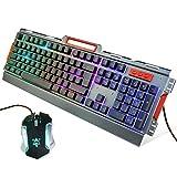 IDEAPRO ゲーミングキーボードマウス セット防水機能付き3色可調節呼吸モードLEDバックライト付きゲームキーボード標準英語配列104キー
