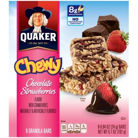 Quaker Chewy Chocolate Strawberries Granola Bars 24gx8 bars(192g) クエーカーチュイチョコレートイチゴグラノーラバー [並行輸入品]