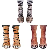 ATROPOS 3 Pair Animal Paw Socks-Unisex 3D Printed Socks Novelty Animal Paws Crew Socks for Men Women Kids