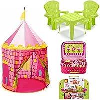 Girlsガーデンテーブルと椅子セットinグリーン、pop-it-upプリンセスお城テントピンク& Tin Tea Set for Gardenピクニックグリーン/ピンク、子供リトルTikes、再生テント、子供キッズアウトドア家具、ピクニックセット
