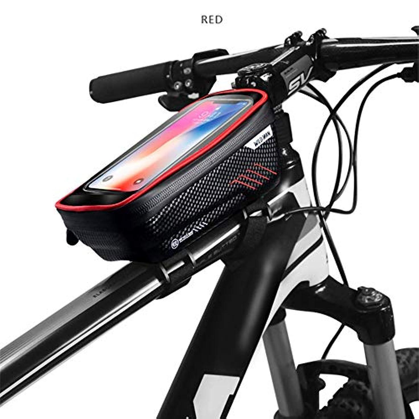 制限歌うファセットマウンテンバイクバッグ防雨防水mtbフロントバッグ6.2インチ携帯電話ケース自転車トップチューブバッグサイクリングアクセサリー (Color : Red)