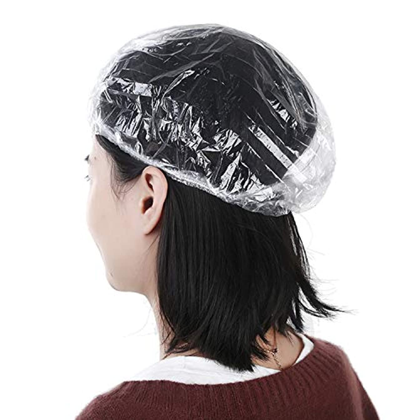 必需品圧縮非互換Kingsie 使い捨て シャワーキャップ ビニール ヘアキャップ 防水帽子 旅行 ホテル 業務用 100枚