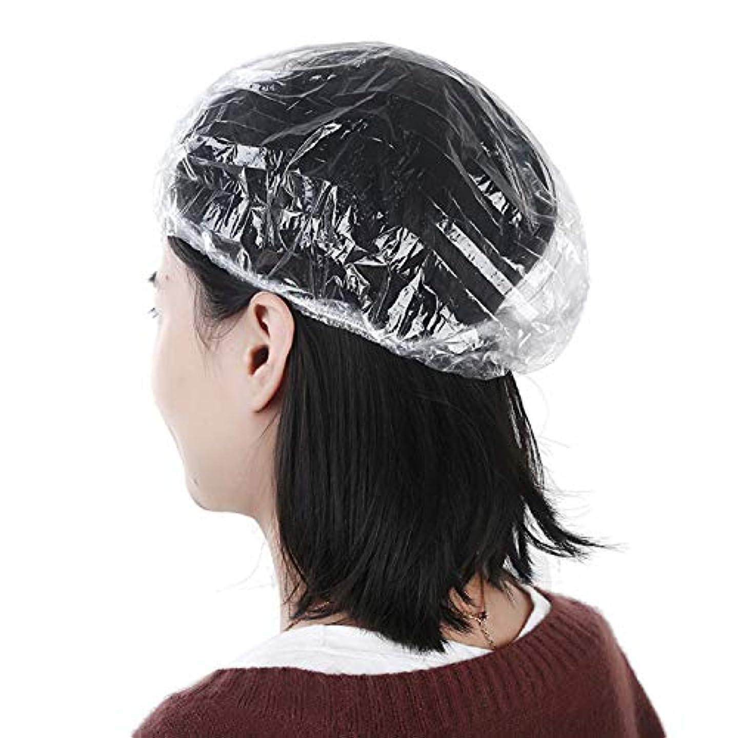 ただ科学者引き付けるKingsie 使い捨て シャワーキャップ ビニール ヘアキャップ 防水帽子 旅行 ホテル 業務用 100枚