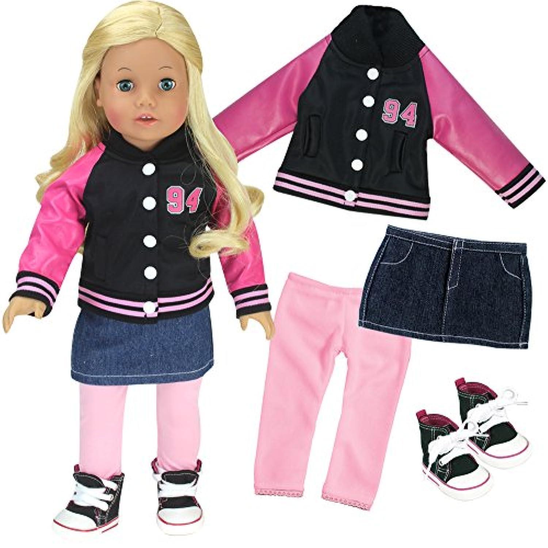 18インチ人形4 pc。セット、Varsityジャケット/コートスカート、レギンスとHigh Topsスニーカーfor Dolls by Sophia 's