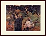 ゴーギャン・「マンゴーの木の下で」 プリキャンバス複製画・ 額付き(デッサン額/大衣サイズ)