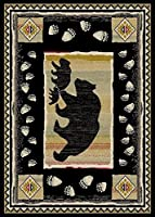 Rug Empire Take the Bear Rustic Lodge Area, 7'10 W X 9'10 L, Lead Black by Rug Empire